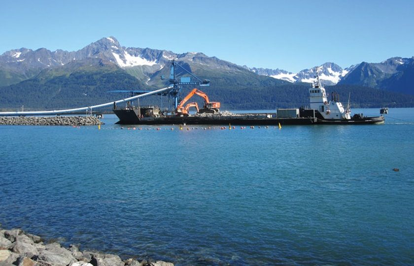 Buoys and lanterns mark construction in Alaska